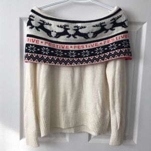 H&M Off the Shoulder Festive reindeer Xmas sweater
